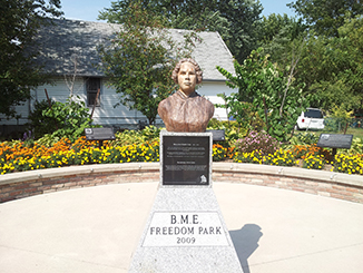 Mary Ann Shadd, first black woman publisher in North America. Plaque and bust in Chatham, Ontario park.